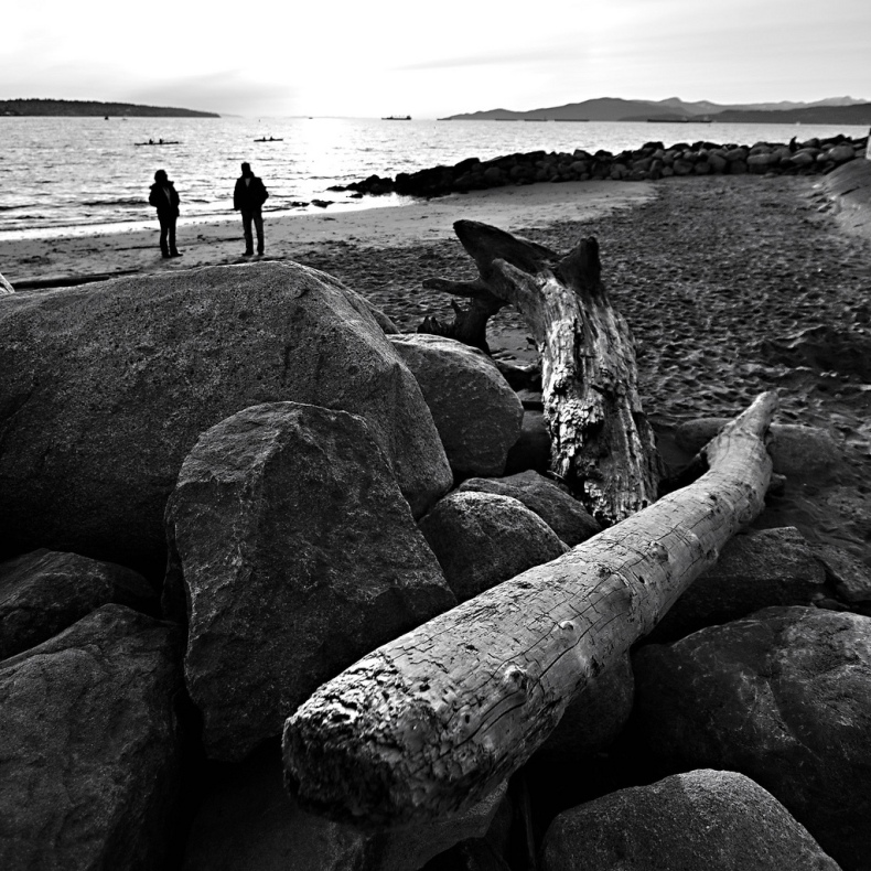 black white vancouver sunset beach canada