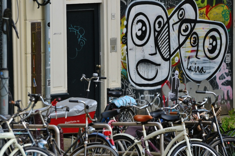 art abstract graffiti amsterdam bikes