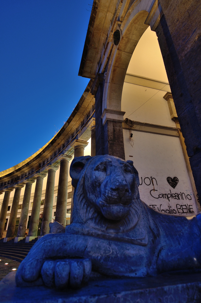 Piazza Plebiscito lion statue monument
