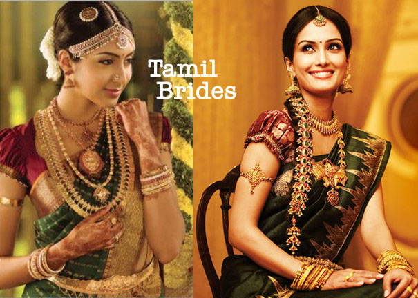 tamil brides nadu south india indian sarees amulet gold flowers henna beauty makeup fashion